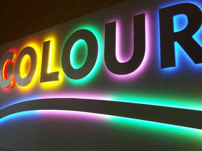 colourful lit signage